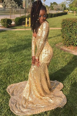 Gold Sequins V-Neck Mermaid Prom Dresses | Gorgeous Long-Sleeveless Prom Gown_2