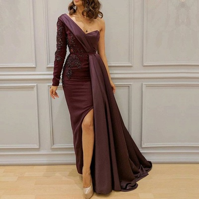 Stunning One Shoulder Evening Gowns | 2020 Slit Long Prom Gowns BC1054_2
