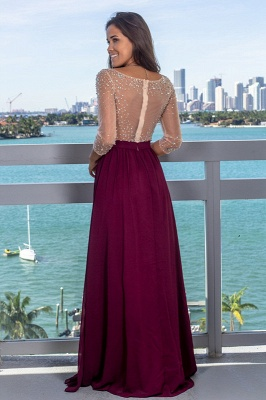 Fashionable V-Neck Long Illusion A-Line Evening Gown   Front Split Crystal Zipper Prom Dress bc2224_3