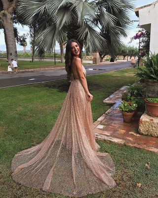 Glamorous V-Neck Spaghetti Strap Evening Dress | 2020 Sequins Long Prom Gowns On Sale BC0515_1