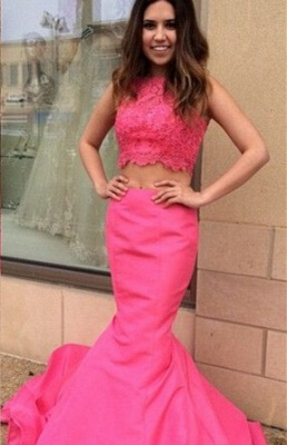 Newest Pink Two Piece 2020 Prom Dress Lace Mermaid Sweep Train_1