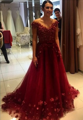 Glamorous Off-the-Shoulder Burgundy A-Line Prom Dresses 2020 Tulle Appliques_1