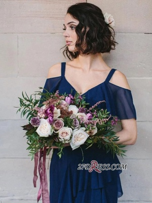 Cold-Shoulder High-Neck Spaghetti-Straps Glorious Royal-Blue V-neck Bridesmaid Dresses_1