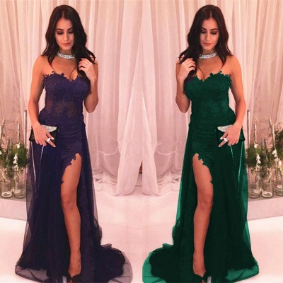 Delicate Lace Sweetheart Sleeveless Front Split Evening Gown | 2020 Prom Dress_4