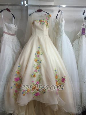 Beautiful Sweetheart 3/4 Sleeve Long Wedding Dress Embroidery Flowers With Train_1