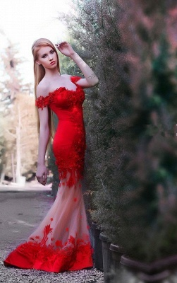 Gorgeous Red Off the shoulder Prom Dress 2020 Mermaid Sheer Skirt_1