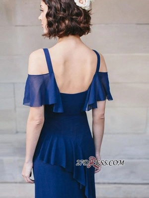 Cold-Shoulder High-Neck Spaghetti-Straps Glorious Royal-Blue V-neck Bridesmaid Dresses_4