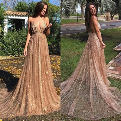 Glamorous V-Neck Spaghetti Strap Evening Dress | 2020 Sequins Long Prom Gowns On Sale BC0515_5