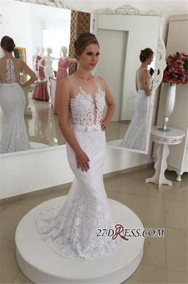 2020 Sleeveless Simple Mermaid Lace Appliques White Wedding Dress_2