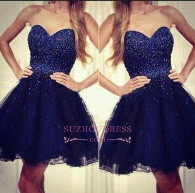 2020 Strapless Sweetheart Short Beading Tulle Navy-Blue Sequins Homecoming Dresses_1