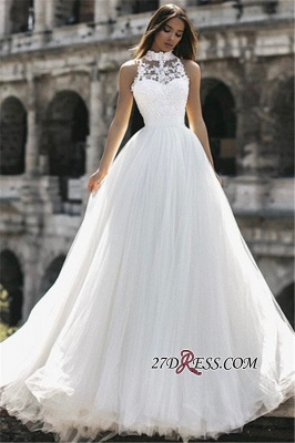 A-Line Sleeveless High Lace Neck Long Appliques Simple Bridal Gown_2