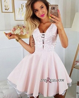 V-neck Sleeveless A-line Charming Lace Homecoming Dresses_1