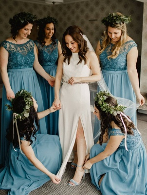 2020 Chic Crew Sleeveless A Line Bridesmaid Dress | Simple Maid Of Hornor Dress With Lace Appliques_1
