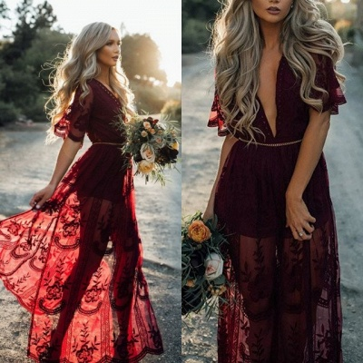 Beautiful Burgundy Evening Dresses | 2020 Short Sleeve Lace Prom Gowns_4