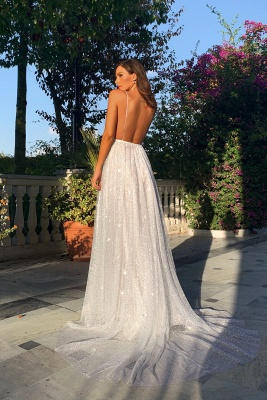 Glamorous V-Neck Spaghetti Strap Evening Dress | 2020 Sequins Long Prom Gowns On Sale BC0515_2