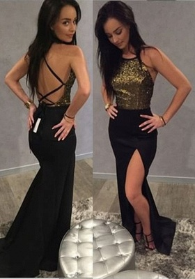 Chic Long Sequins 2020 Prom Dress Mermaid Split Party Gowns On Sale BA9371_1