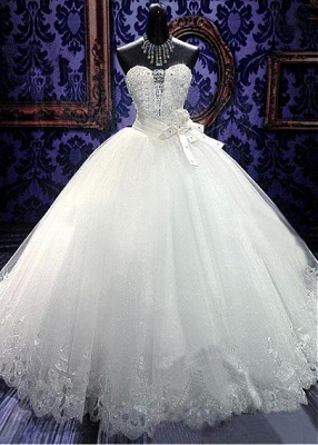Glamorous Sweetheart Sleeveless Tulle Lace Wedding Dress With Beadings Crystals_1