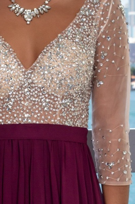 Fashionable V-Neck Long Illusion A-Line Evening Gown   Front Split Crystal Zipper Prom Dress bc2224_4