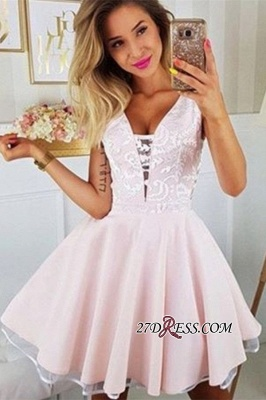 V-neck Sleeveless A-line Charming Lace Homecoming Dresses_2