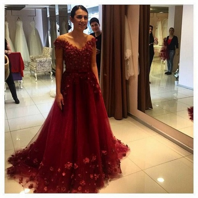 Glamorous Off-the-Shoulder Burgundy A-Line Prom Dresses 2020 Tulle Appliques_3