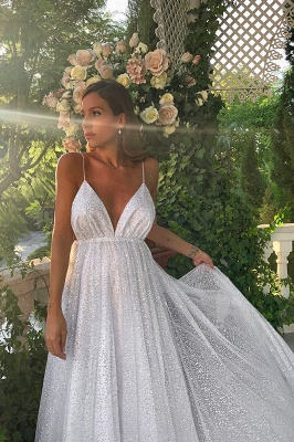 Glamorous V-Neck Spaghetti Strap Evening Dress | 2020 Sequins Long Prom Gowns On Sale BC0515_4