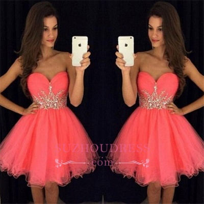 Sweetheart Mini Beadings Tulle A-line Homecoming Dress_1