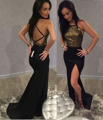 Chic Long Sequins 2020 Prom Dress Mermaid Split Party Gowns On Sale BA9371_3