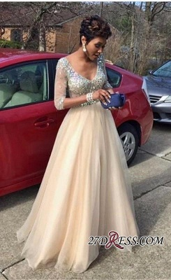 2020 V-Neck Crystal Glamorous Half-Sleeves Tulle Floor-Length Prom Dress_2