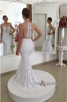 2020 Sleeveless Simple Mermaid Lace Appliques White Wedding Dress_1