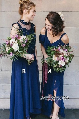 Cold-Shoulder High-Neck Spaghetti-Straps Glorious Royal-Blue V-neck Bridesmaid Dresses_3