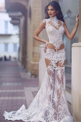 Sexy Lace Prom Dress | 2020 Mermaid Sheer-Skirt Party Gowns_1