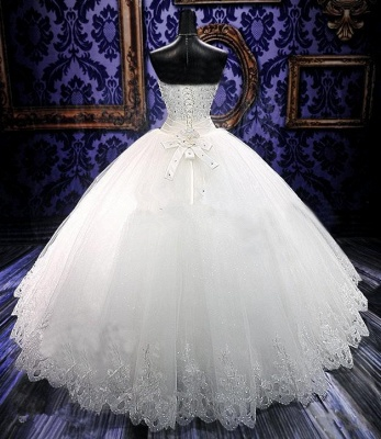 Glamorous Sweetheart Sleeveless Tulle Lace Wedding Dress With Beadings Crystals_2
