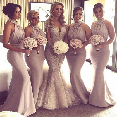 Halter Crystal 2020 Bridesmaid Dresses | 2020 Mermaid Long Bridesmaid Dresses_2