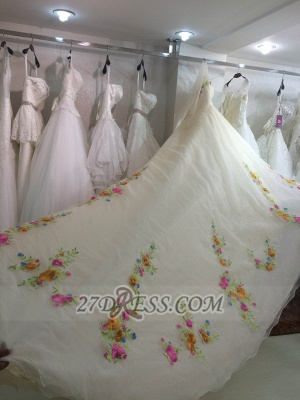 Beautiful Sweetheart 3/4 Sleeve Long Wedding Dress Embroidery Flowers With Train_3