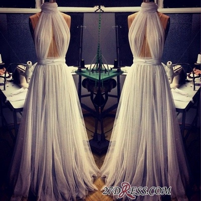 A-line Sleeveless Newest High-Neck Tulle Prom Dress BA2524_1