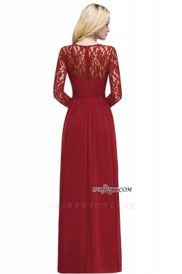 Length Floor Sleeves Long Lace A-line Chiffon Bridesmaid_2