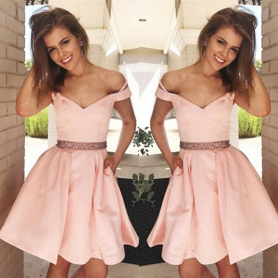 Lovely Off-the-Shoulder Short Prom Dress | 2020 Pink Mini Homecoming Dress_3