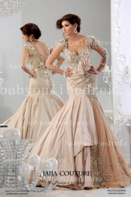 New Sexy Mermaid Arabic Prom Dresses Backless Sheer One Shoulder Taffeta Evening Gowns With Long Sleeves & Beaded Appliq_1