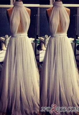 A-line Sleeveless Newest High-Neck Tulle Prom Dress BA2524_2