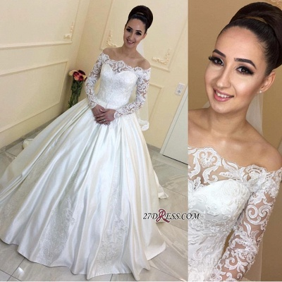 Sweep-Train Long-Sleeves A-line Off-the-Shoulder Lace 2020 Wedding Dresses BA7381_2