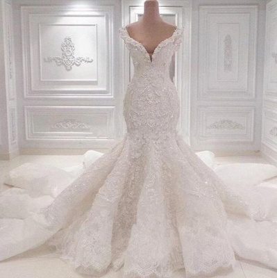 Luxurious Off-the-Shoulder Mermaid Wedding Dresses   2020 Lace Appliques Bridal Gowns On Sale BC0221_2