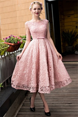 Glamorous Beadings Lace A-Line Lace-up Tea-Length Homecoming Dresses_1
