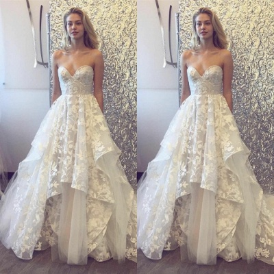 Beautiful Sweetheart Wedding Dress | 2020 Lace Appliques Princess Bridal Gowns_3