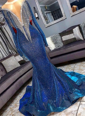 Glamorous Sequins Mermaid Long Sleeve Prom Dresses | 2020 Mermaid Evening Gowns With Tassels BC1367_1