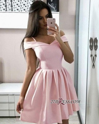 Off-the-shoulder Gorgeous A-line Pink Homecoming Dresses_2