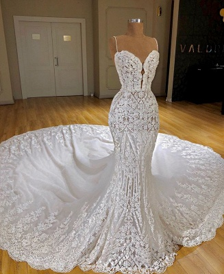 Charming Spaghetti Straps Lace Appliques Bridal Gowns | Mermaid Sleeveless 2020 Wedding Dress_2