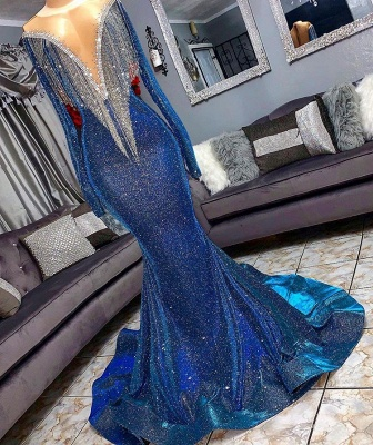 Glamorous Sequins Mermaid Long Sleeve Prom Dresses | 2020 Mermaid Evening Gowns With Tassels BC1367_2
