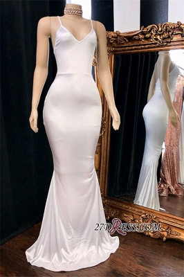 Simple Mermaid Spaghetti-Straps White Evening Dresses_1