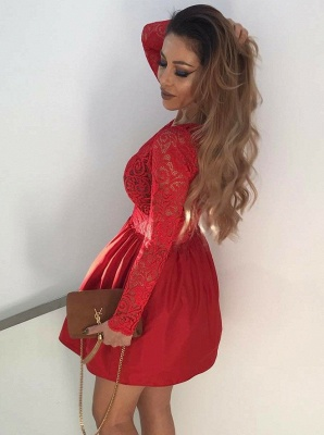 Sexy Red V-Neck Short Prom Dress   Long Sleeve Lace Homecoming Dress BC0643_3