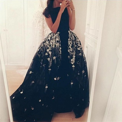 Glamorous Long Overskirt Party Dress Appliques Tulle Evening Gown_2